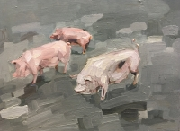 ruotsalainen/2019/17_Three_little_pigs_2018_Oil_on_hardboard_40x53cm